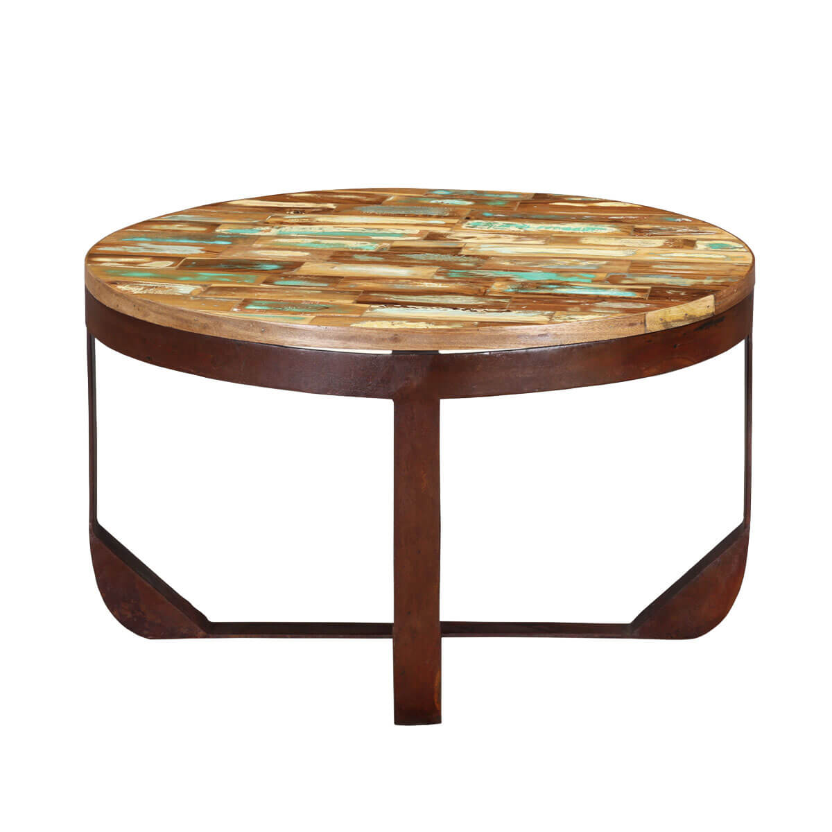 Reclaimed Wood Round Table: Reclaimed Wood Industrial Round Coffee Table