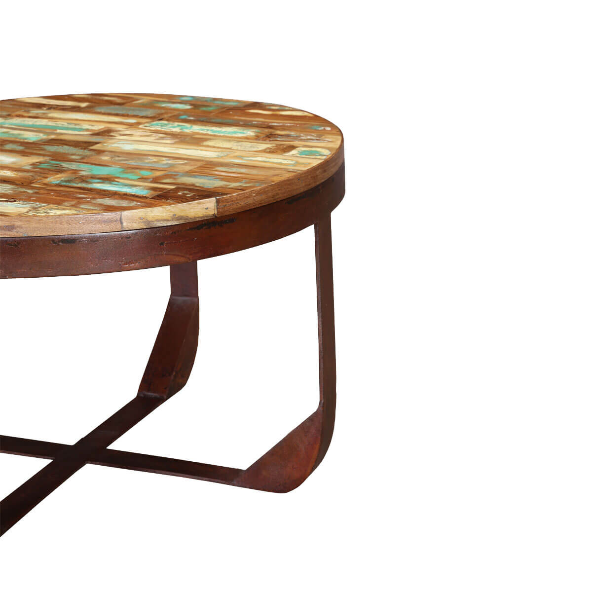 Industrial 29 round handcrafted reclaimed wood rustic coffee table Rustic round coffee table