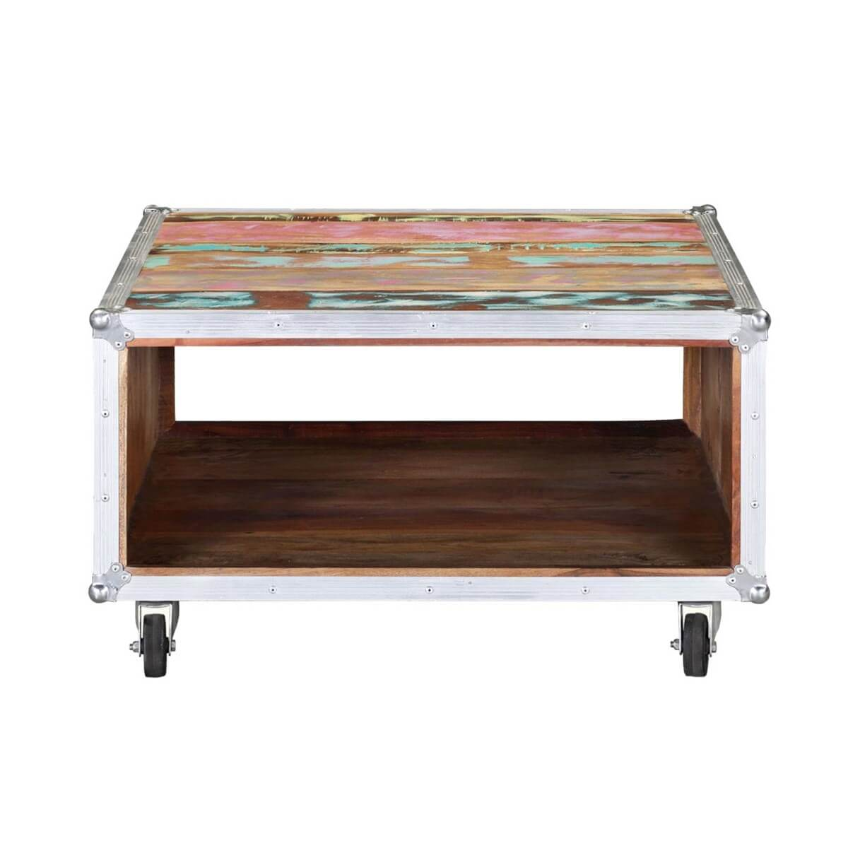 Rainbow Handcrafted Reclaimed Wood Industrial Coffee Table