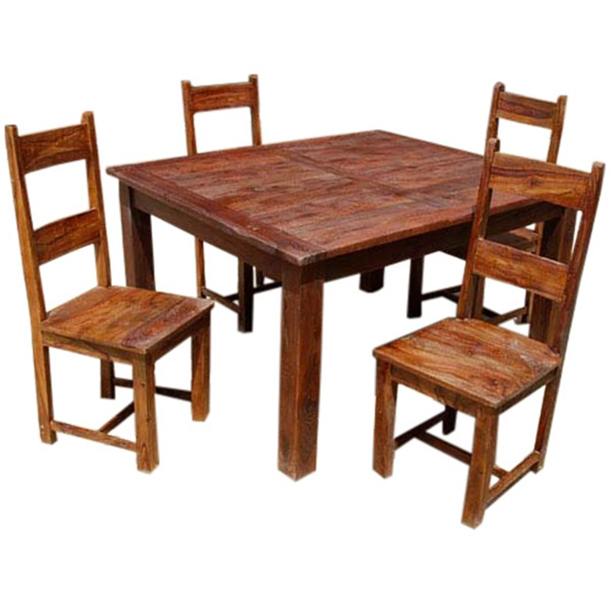 Rustic solid wood appalachian dining room table chair set for Rustic dining room sets