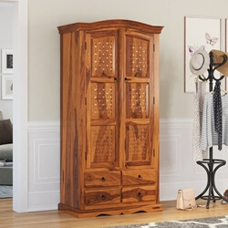 Hand Crafted Wood 4 Storage Drawers Armoire Wardrobe