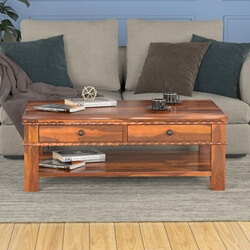 Rustic Solid Wood Carved Border Coffee Table w 2 Storage Drawers