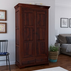 Rustic Solid Wood Armoire Cabinet With 2 Storage Drawers