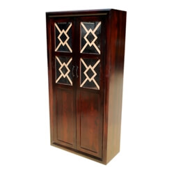 Solid Wood Glass Doors Armoire Wardrobe Furniture