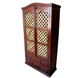 Two Toned Solid Wood Lattice Storage Armoire