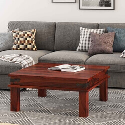 "Solid Indian Rosewood 34"" Square Cocktail Sofa Coffee Table"