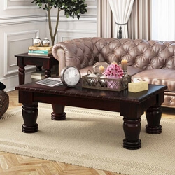 Dark Solid Wood Country Style Rustic Sofa Cocktail Coffee Table