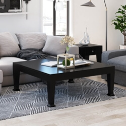 Rustic Wood Black Cocktail Sofa Traditional Square Coffee Table