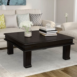 Solid Wood Square Sofa Cocktail Iron Accent Coffee Table