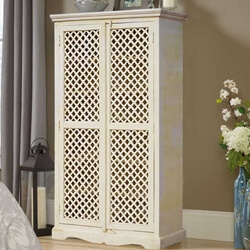 Farmhouse White Solid Wood Storage Cabinet Lattice Door Armoire