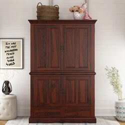 Solid Wood Double Door Media Storage Armoire Hutch