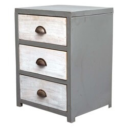 Industrial 3 Drawer Grey & White Reclaimed Wood & Iron Dresser