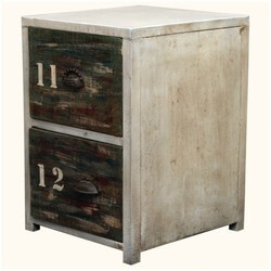 Industrial Reclaimed Wood & Iron End Table 2-Drawer Night Stand