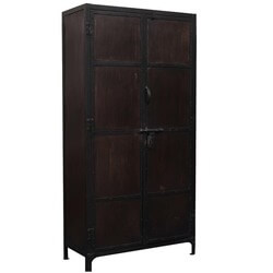 Large Industrial Black & Brown Iron Armoire Storage Cabinet