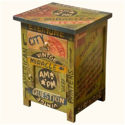 Pop Art Wisdom Words Mango Wood Night Stand End Table Cabinet