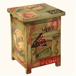 Pop Art Diner Delight Mango Wood Night Stand End Table Cabinet