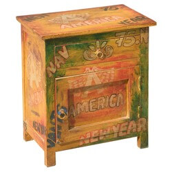 Pop Art Mod Americana Mango Wood Night Stand End Table Cabinet