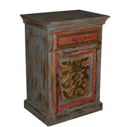 Coat of Arms Red & Grey Night Stand End Table Reclaimed Wood Furniture