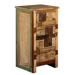 Wooden Patch Quilt Night Stand End Table Reclaimed Wood Furniture