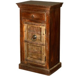 Gothic Golden Door Reclaimed Wood Night Stand End Table Cabinet
