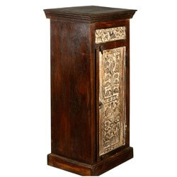 Winter Forest Hand Carved Old Wood Night Stand End Table Cabinet