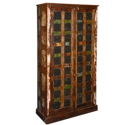 Rustic Black Window Pane Style Reclaimed Wood Armoire Cabinet