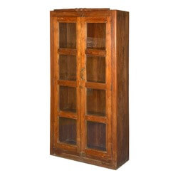 Lincoln Study Teak Wood Display Case Armoire Cabinet