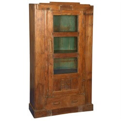 Rustic Glass Door Reclaimed Teak Wood Armoire