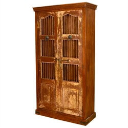 Lincoln Study Reclaimed Wood & Iron Bookcase Armoire Cabinet