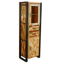 "Industrial Mondrian Reclaimed Wood & Iron 73"" Narrow Cabinet"