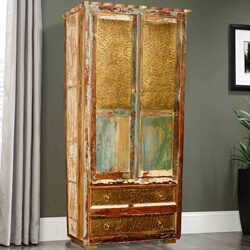 "Golden Coins Reclaimed Wood 72"" Armoire Cabinet w Bottom Drawers"