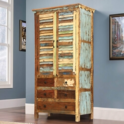 Painted Shutters Reclaimed Wood Wardrobe Wall Unit Cabinet