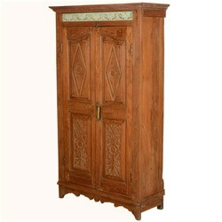 Rustic Reclaimed Wood Oklahoma Hand Carved Bedroom Armoire