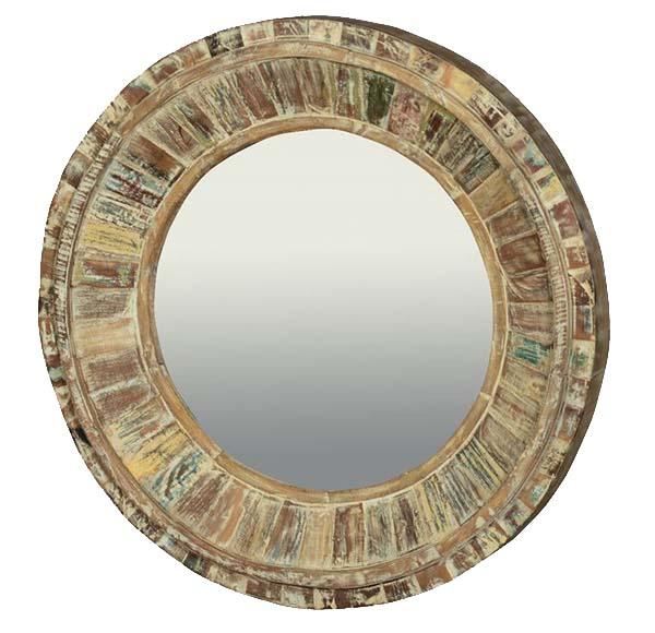 Reclaimed Wood Decor Round Mirror