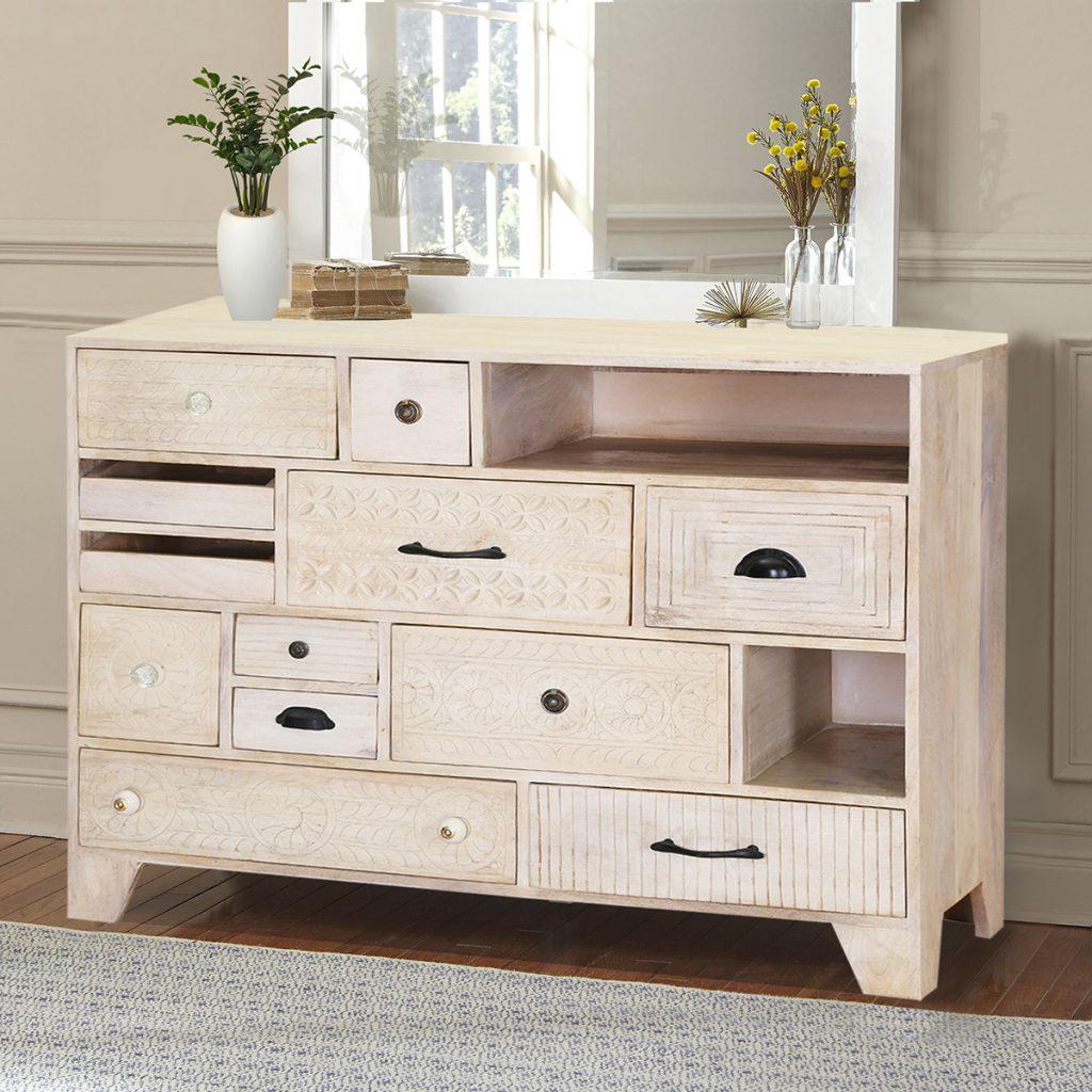 Aspen Hand-Carved Rustic Solid Wood 12 Drawer Dresser