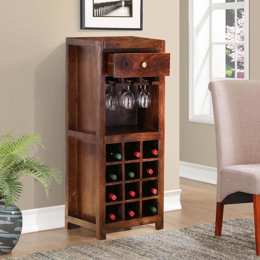 "Willamette 45"" Rustic Solid Wood Wine Bar Cabinet"