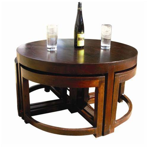Modern Round Brown Nesting Cocktail Coffee Table With 4 Wedge Tables