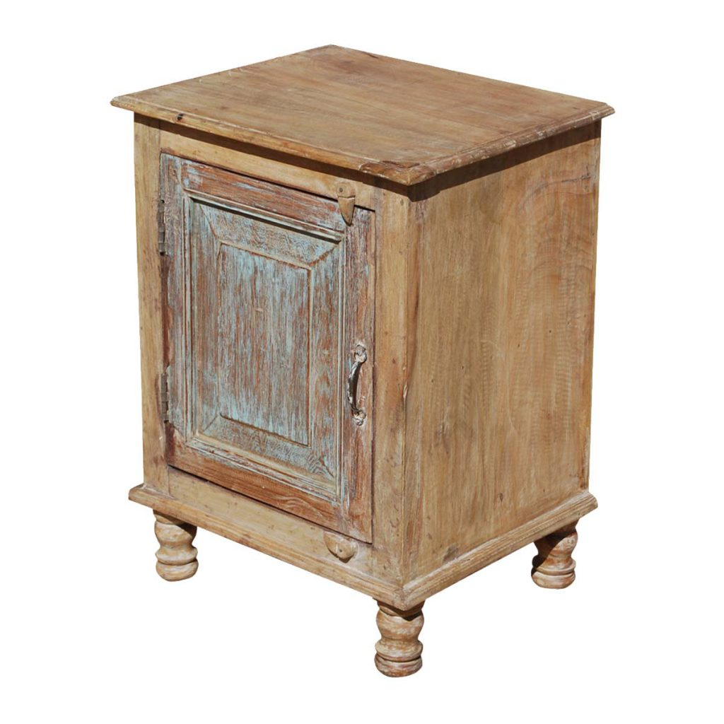 Rustic Farmhouse Reclaimed Wood Night Stand End Table Cabinet