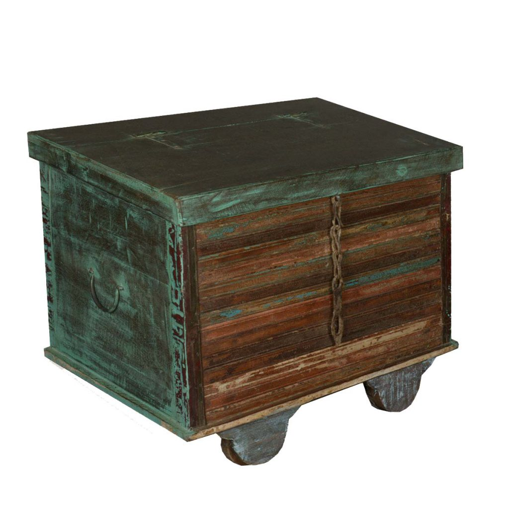 Industrial Green Reclaimed Wood Rolling Foot Locker End Table Chest