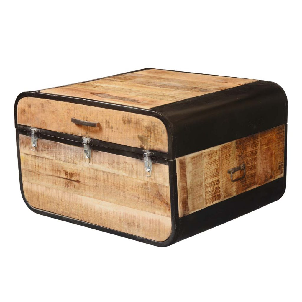 Colorado Industrial Fusion Rustic Solid Wood and Iron Storage Trunk