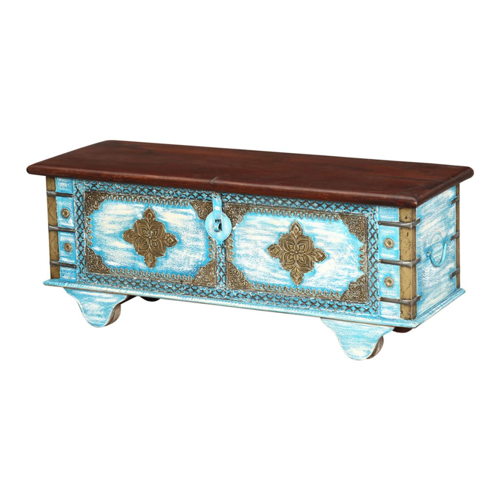 Decorate with trunks for tables that have storage and stylesierra blue double diamond mango wood rolling coffee table chest geotapseo Choice Image