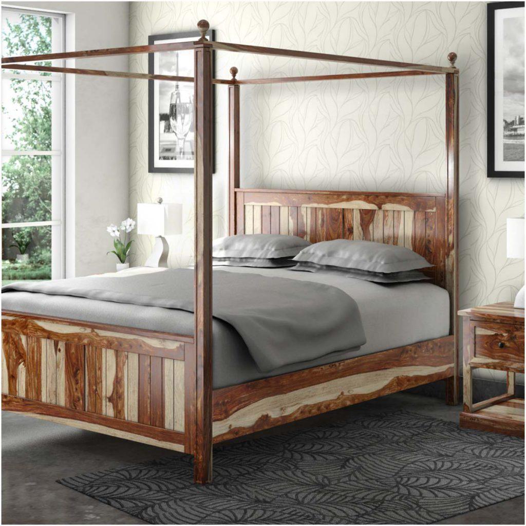 Dallas Ranch Rustic Solid Wood Platform Canopy Bed