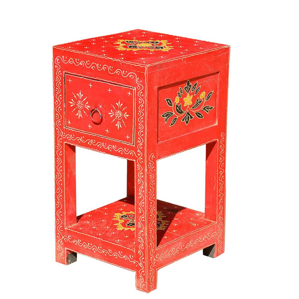 Distressed Hand Painted Bed Side End Table Nightstand