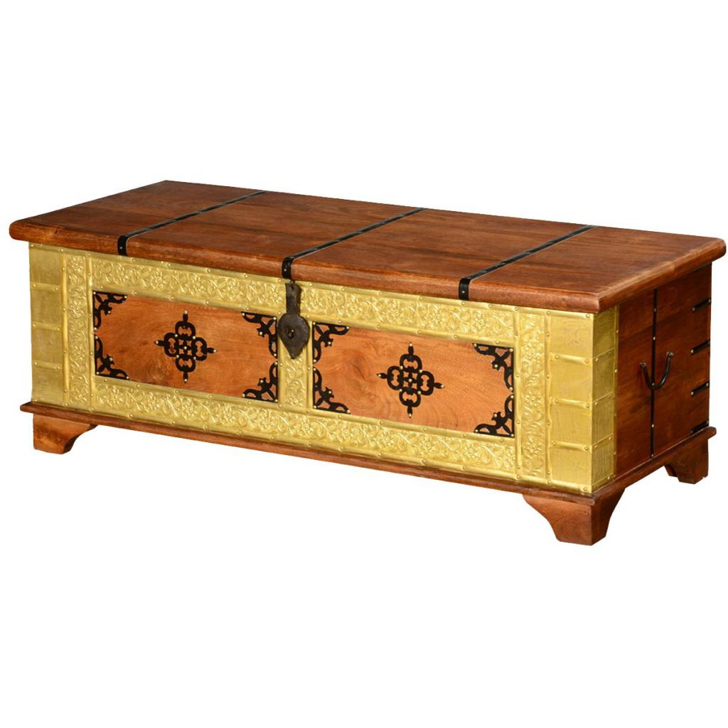 4-Leaf Clover Mango Wood & Brass Inlay Standing Coffee Table Chest