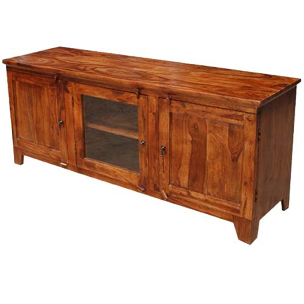 Oklahoma Farmhouse 3 Compartment Solid Wood Rustic TV Media Stand