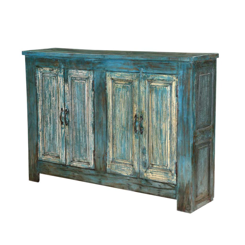 Sky Blue Distressed Reclaimed Wood Free Standing Rustic Cabinet