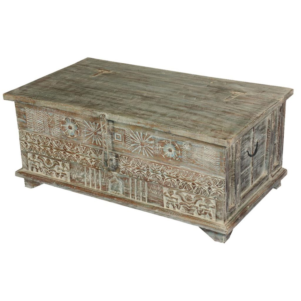 Story on a Wall Reclaimed Wood Primitive Coffee Table Chest