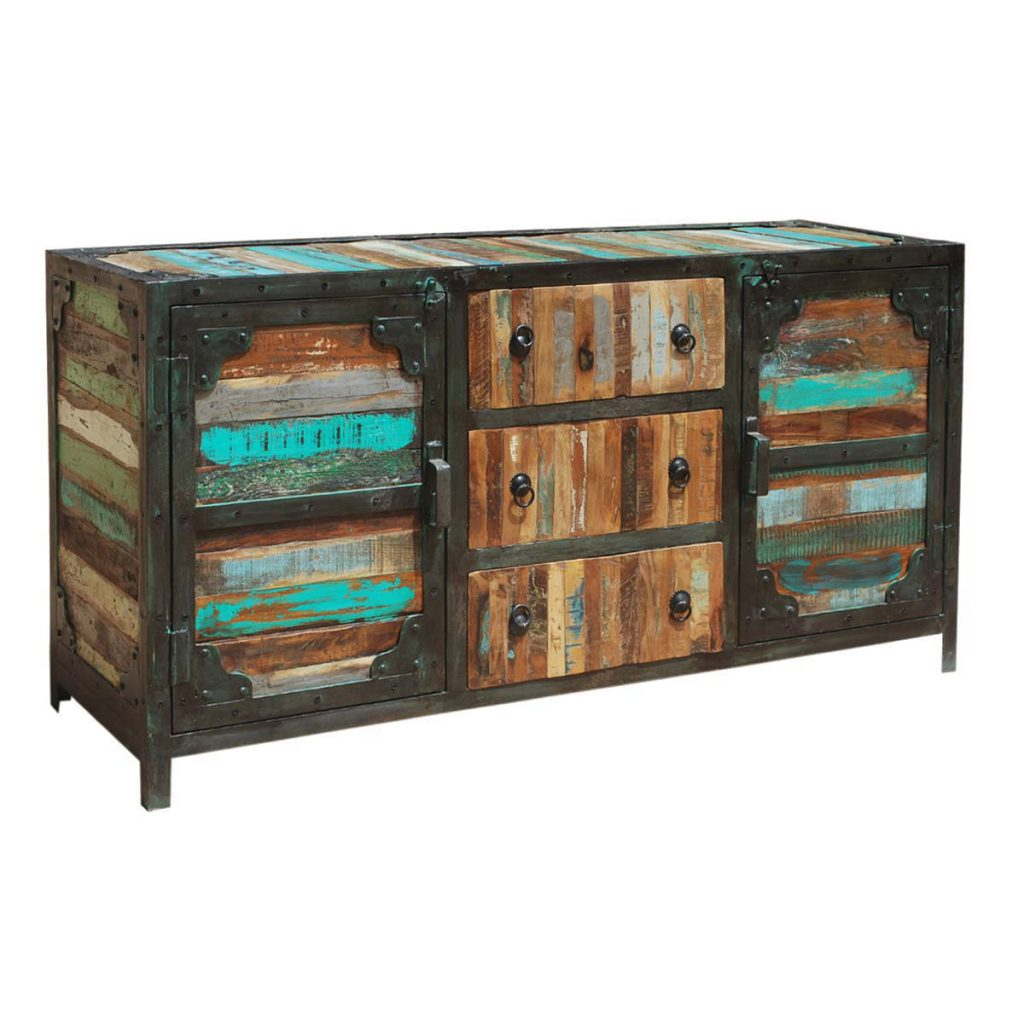 Industrial Rustic Reclaimed Wood Sideboard Buffet