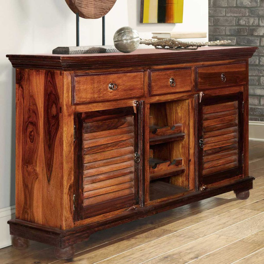 Shaker Buffet Wine Rack Solid Wood 3 Drawer Sideboard