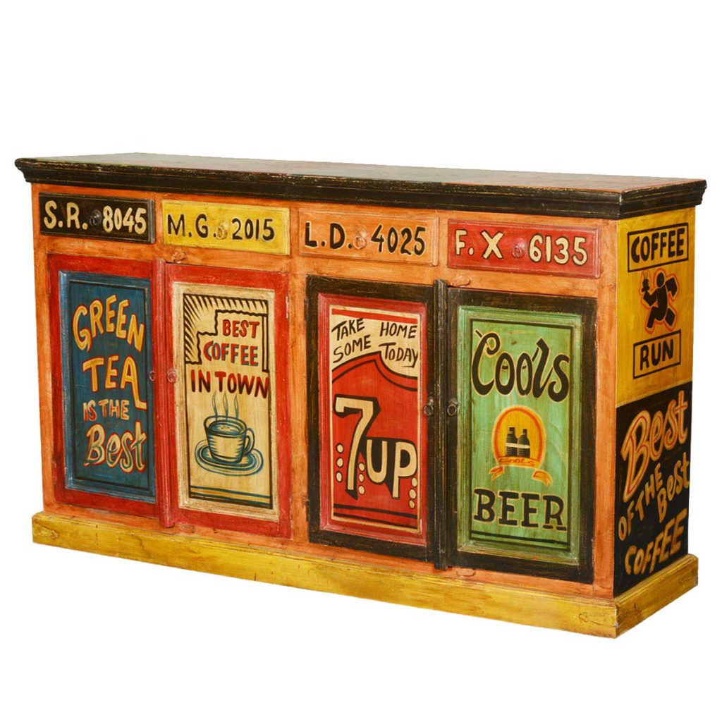 Pop Art Hand Painted Mango Wood Storage Buffet Cabinet